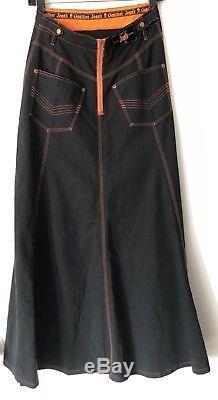 Jean's Paul Gaultier JPG Jean Vintage Rave Maxi Skirt Neon 38 S Women's