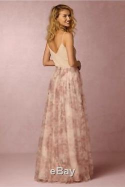 Jenny Yoo Bhldn Maxi Long Skirt Louise Tull Watercolor Purple Pink Sz 2 Xs