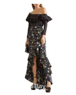 Johanna Ortiz Maxi Skirt Floral Ruffle Justina Embellis Velvet
