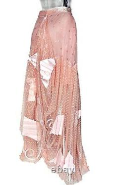 John Galliano Christian Dior Polka Dot Embroidered Pink Silk Pleated Maxi Skirt