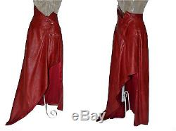 John Galliano Christian Dior Red Leather High Waisted Vintage Maxi Skirt