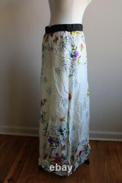 Johnny Was M Silk Floral Scarf Print Maxi Skirt Elastic Waist