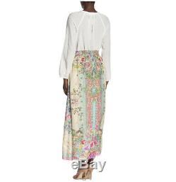 Johnny Was Sz L Silk Jenlynn Maxi Skirt Floral Bohemian Long elastic Waist