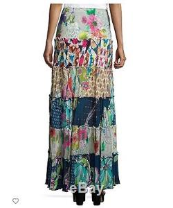 Johnny Was cherrie tier maxi skirt patch bohemian gypsy boho free silk L NWT