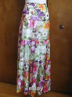 Jones New York Women's Colored Long 100% Silk Skirt Size 12 NWT