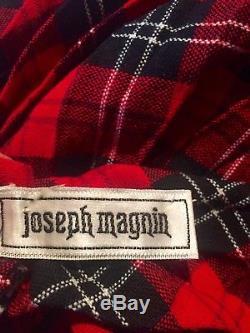 Joseph Magnin red long plaid pleated full maxi skirt wool Christmas black formal