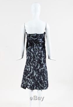 Junya Watanabe Gray Floral Print Denim Draped Midi Skirt SZ S
