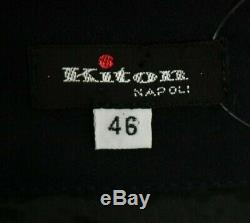 KITON Black Silk Satin Ruffle Trim Tiered Maxi Skirt 46