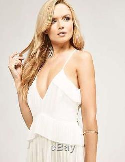 Keepsake Love Struck Maxi Long White Camisole Dress Chiffon Pleated Skirt £198