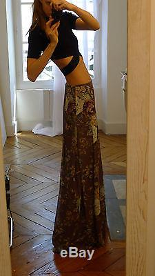Kenzo Fall 10 floor length maxi long floral boho green pink blue grey skirt S
