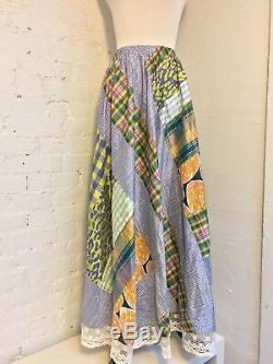 Koos Van Den Akker VTG 80s Cotton Patchwork Lace Maxi Skirt Boho 2-4 S