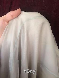 Krista Larson Pale Silver Blue Silk A Line Long Flowy Boho Maxi Skirt One Size