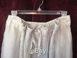 Krista Larson Pale Silver Blue Silk A Line Long Flowy Maxi Skirt One Size