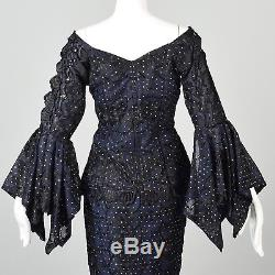 L Sexy Mermaid Dress Two Piece Navy Maxi Long Sleeve Hi Low Skirt Vintage 1980s