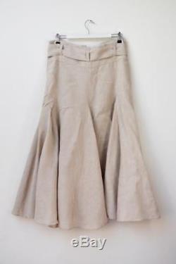 LEE MATHEWS Natural Beige Linen Paperbag Waist Godet Maxi Skirt Sz 1