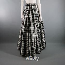 LILY SAMII Size 6 Black & White Plaid Full Length Evening Skirt
