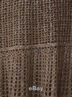 LISA HO Olive Green Cotton Silver Lurex Crochet Knit Boho Gypsy Maxi Skirt AU14
