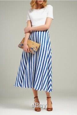 LK Bennett Harpa Stripe Skirt Blue/White Linen Long Maxi UK 8 10 US 2 4 RRP £175