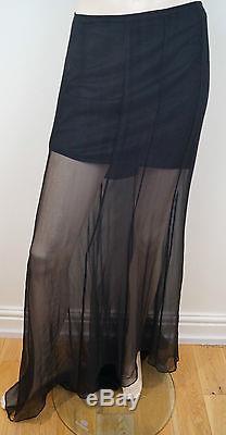 LOLITA LEMPICKA Black 100% Silk Sheer Long Length Evening Maxi Skirt Sz40 10/12