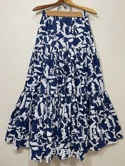 La Double J Mantero Big Skirt Tiered Maxi Blue White Lady Women Print Size L
