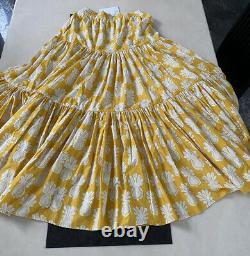 La DoubleJ Yellow Pineapple-Print Tiered Maxi Cotton-Poplin Skirt. Large