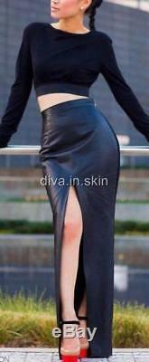 Lambskin Leather Long Maxi Hobble Split Skirt
