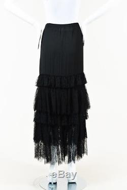 Lanvin Black Lace Tiered Maxi Skirt SZ 40