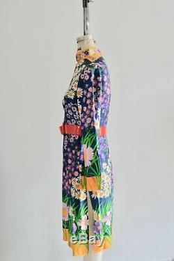 Lillie Rubin Psychedelic Floral Print Maxi Tunic Kimono Long Skirt Dress
