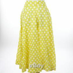 Lisa Marie Fernandez yellow white Polka Dot Skirt Linen-Y $550 Midi Maxi Long L