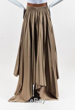 Loewe NWT Caramel Brown Beige Canvas & Leather Pleated Asymmetric Skirt SZ 38