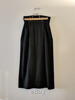 Long Sailor Straight Pencil Column Maxi Skirt High Waist Black Cashmere Knit