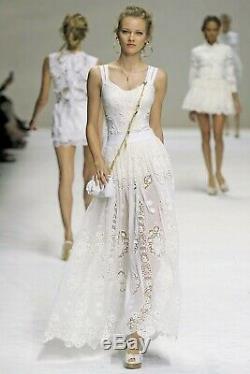 Long white runway skirt Dolce Gabbana macrame 38 size