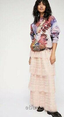 Love Shack Fancy Free People Harriet Embroidered Shabby Chic Tiered Maxi Skirt 4