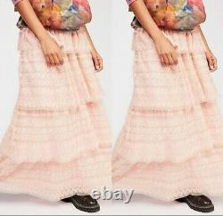 Love Shack Fancy Harriet Embroidered Shabby Chic Tiered Maxi Skirt Size 4