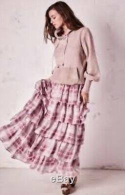 Love Shack Fancy Maxi Skirt pink white Silk Plaid Carmen Tiered Swingy 10 NEW