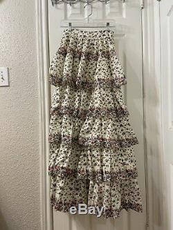 Love shack fancy Layer Printed Floral Cotton Long Skirt Zipper Size 2