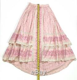 LoveShackFancy size S JOAN Skirt Long Maxi Embroidered Pink Cotton Lace Trim
