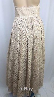 Luisa Beccaria Midi Lace Skirt New $4635 Sz 38/4 High Waist Cotton Blend