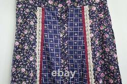 M213 Vintage Jessica's Gunnies Maxi Skirt Floral Print Lace Gunne Sax Women's 11