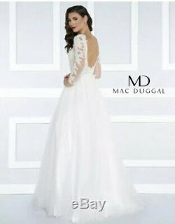 MAC DUGGAL 65841H Ivory White Nude Beaded Long Sleeve Lace Tulle Skirt Gown 2