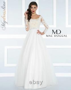 MAC DUGGAL 65841H Ivory White Nude Beaded Long Sleeve Lace Tulle Skirt Gown 4 US