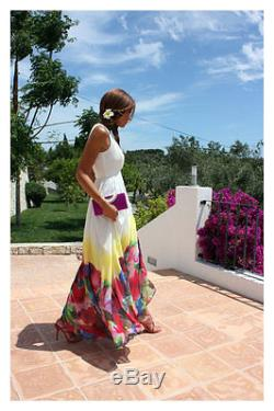 MANGO MAXI LONG WEDDING DRESS FLORAL MOTIF SKIRT BRIDE OFF WHITE PARTY M 8 10