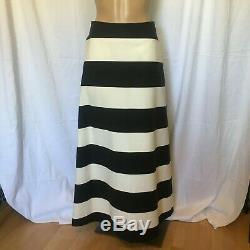 MARIMEKKO skirt TYKKY Black White Striped Cotton Maxi Skirt Sz 36 8 nwt