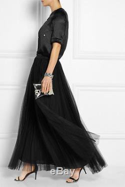 MARNI Black Plissé Accordion Pleated Sheer Layered Tulle Full Maxi Skirt 4/40/S