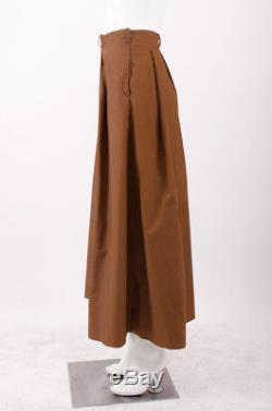MARYAM NASSIR ZADEH MNZ Fabiana Cinnamon Brown Poplin Pleated Maxi Skirt 2/4