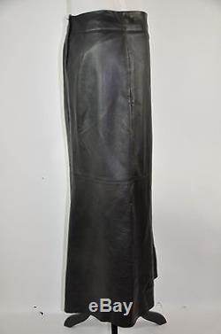 MAX AZRIA Black Leather Maxi Skirt Size 10