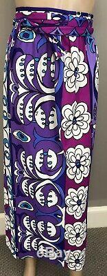 MINT Vintage wrap long skirt by Emilio Pucci purple floral print sz 2/4