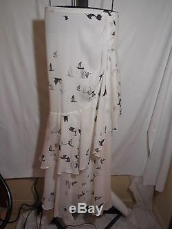 Misses 100% Silk Swan Printed Full Length Maxi Skirt Haute Hippie M $595