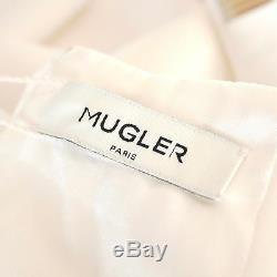 MUGLER $2390 cut out metal chain high slit stretch cady SS15 runway skirt 40 NEW