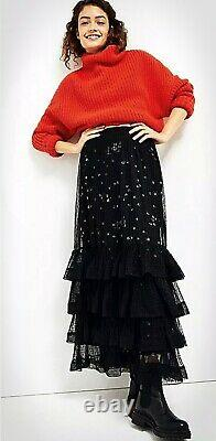 MaRe MaResz S 4 6 8 NWT SO RARE! Luciana tulle maxi skirt sequin Anthropologie